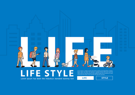 Vector people life style walking with flat big letters in line city buildings