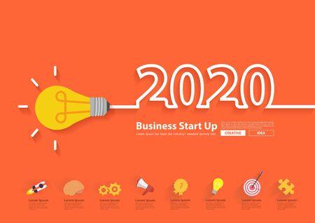 2020 new year with creative light bulb idea design, Inspiration business plan Vector Illustration