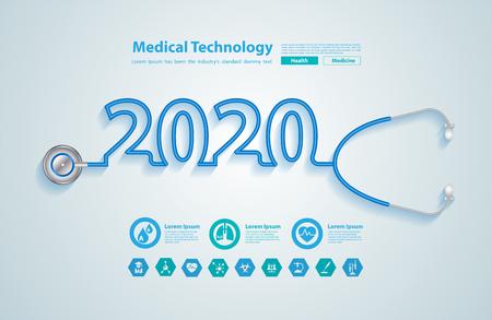 Kreatives Design des neuen Jahres 2020 mit Stethoskop und medizinischen flachen Symbolen im Medizintechnikkonzept