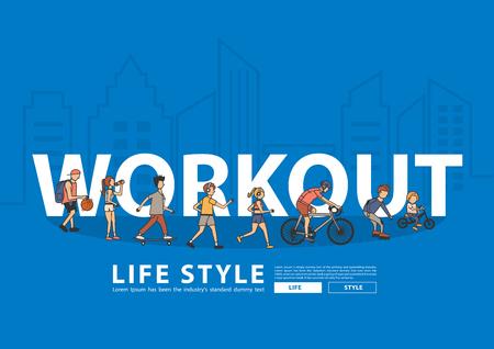 Vector people workout life style idea concept with flat big letters in line city landscape buildings Ilustração