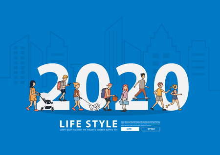2020 new year people life style walking with flat big letters in line city buildings