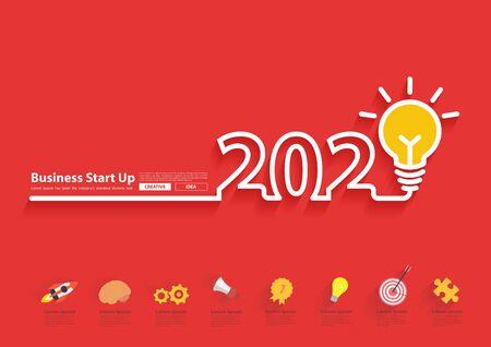2020 new year with creative light bulb idea  design, Inspiration start up business plan