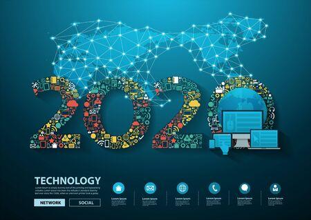 La technologie de l'innovation commerciale du nouvel an 2020 a défini des icônes d'applications concept d'idées de marketing numérique