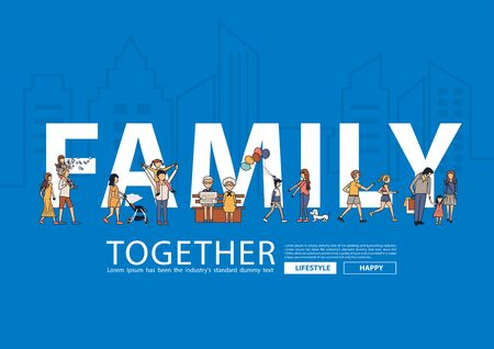 Vector happy family having fun life style idea concept with flat big letters in line city landscape buildings