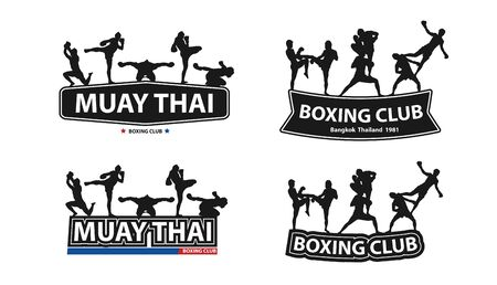 Kickboxing, Thai boxing, Muay Thai action on flat big letters ideas concept