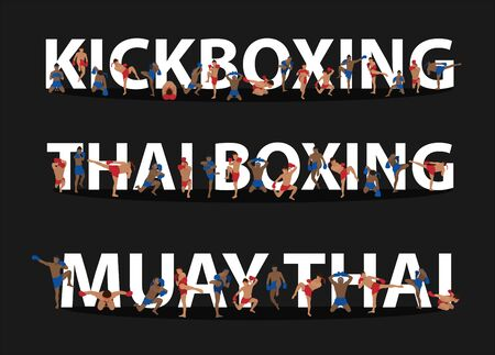 Kickboxing, Thai boxing, Muay Thai action on flat big letters ideas concept, Vector illustration modern layout template creative design