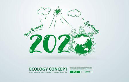 2020 nouvel an dans le dessin créatif technologies environnementales et respectueuses de l'environnement, économie d'énergie, recyclage écologique. Conception de modèle de mise en page illustration vectorielle Vecteurs