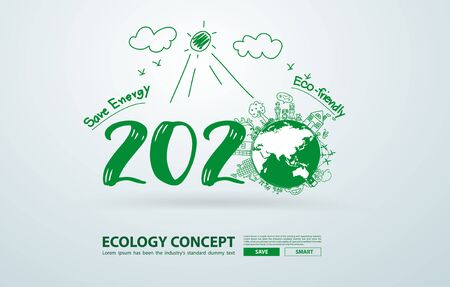 2020 new year in creative drawing environmental and eco-friendly technologies, energy saving, ecological recycling. Vector illustration layout template design