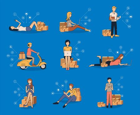 Vector selling online ideas concept small business owner, Men using smart phone and women working laptop computer with  virtual icons network diagram futuristic user interface, postal parcel box Ilustração