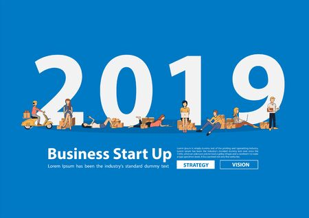 Startup small business owner young using mobile gadgets laptop computer, Vector people selling products online idea concept with flat big letters 2019 new year