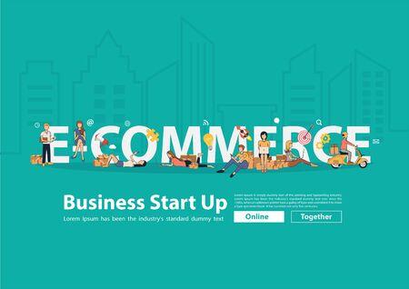Concept d'idée de commerce électronique, personnes vectorielles vendant des produits en ligne avec un jeune propriétaire de petite entreprise utilisant des gadgets mobiles, un ordinateur portable et un colis postal