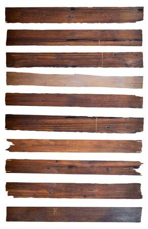 Old Wood plank, isolated on white background Imagens