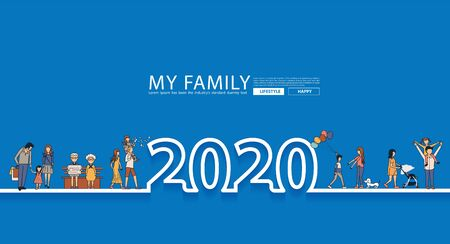 Happy family fun 2020 new year life style idea concept in line text design
