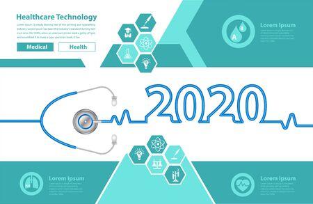 Stethoscope heart creative ideas concept new year 2020 calendar cover