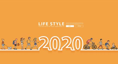 Happy New Year 2020 logo line text design with group of people workout life style idea concept Illustration