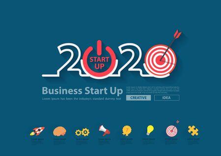 2020 new year business start up plan, marketing strategy target market ideas concept Illusztráció