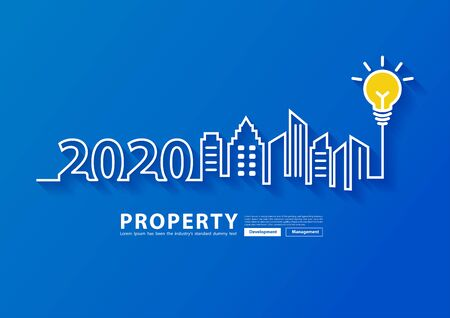 2020 new year city skyline line art creative light buld ideas design, With property management development concept, Vector illustration modern page cover layout template Иллюстрация
