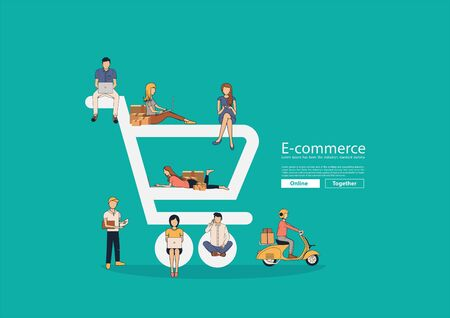 People shopping online in the shape of a shopping cart icon, Vector illustration modern design layout template