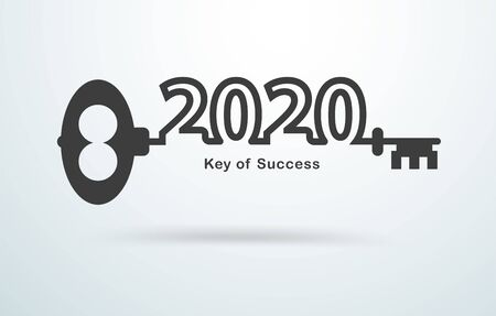 Old door key with 2020 new year text number creative design, Business success strategy plan inspiration, Vector illustration layout template
