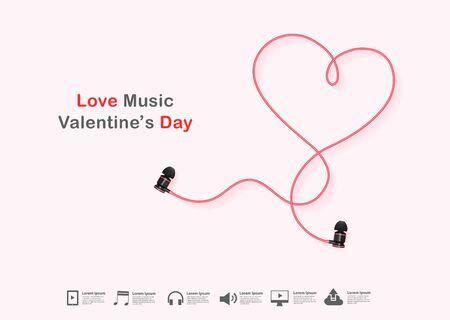 Conception de signe de ligne de coeur de valentines d'écouteur créatif de vecteur, concept d'idée de jour de valentines de musique d'amour