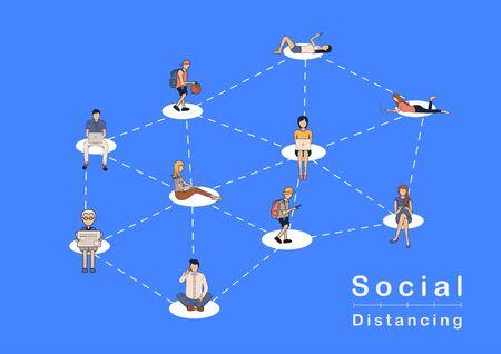 Concept d'idées de personnes à distance sociale vectorielle, prévenir la maladie du coronavirus COVID-19 Vecteurs