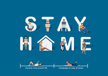 Bleiben Sie zu Hause Bewusstsein für Social-Media-Kampagnen-Ideenkonzept, Verhindern Sie die COVID-19-Coronavirus-Krankheit