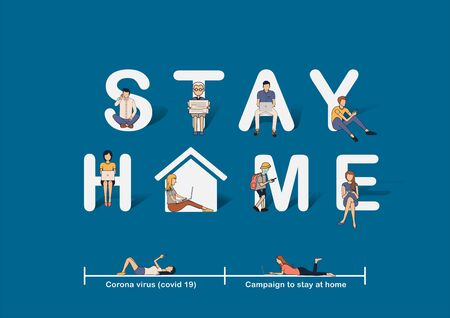 Stay at home awareness social media campaign ideas concept, Prevent COVID-19 coronavirus disease