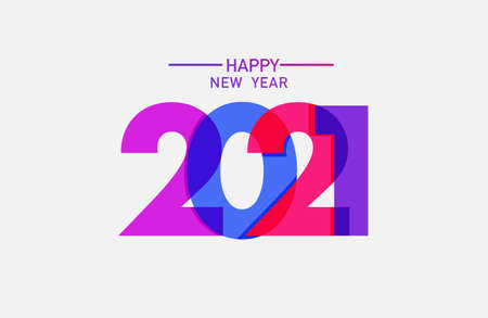 2021 happy new year text design vector template