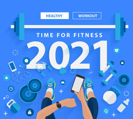 2021 new year time for fitness in gym healthy lifestyle ideas concept design, Vector illustration modern layout template