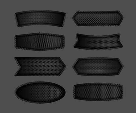 Modern dark black metal steel sign board label plate carbon fiber texture background, Vector illustrations design