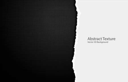 Vector torn paper edges on carbon fiber texture. Dark background Ilustracja