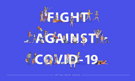 Fight Against Covid-19 with New normal lifestyle ideas concept. People wearing mask in flat big letters design. Vector illustration modern layout template Ilustracja