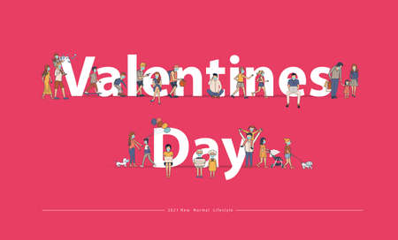 Valentine's day text with New normal lifestyle ideas concept. People wearing mask in flat big letters design. Vector illustration modern layout template Ilustracja