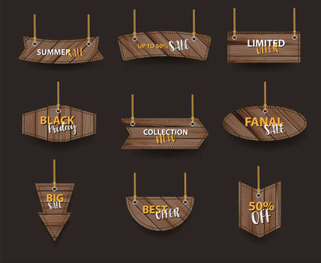 Vector wooden signs hanging on a rope and chain, With price tags labels collection sale banners design Ilustracja