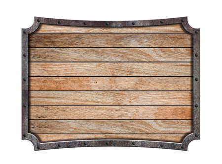 Medieval wooden sign in a metal frame, Isolated on white background