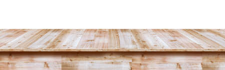 Wood table top used for display or montage your products, isolated on white background