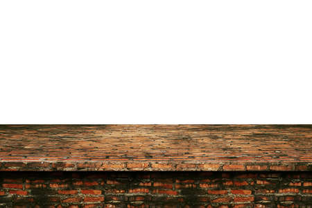 Brick wall table top loft style, Used for display or montage your products, isolated on white background Zdjęcie Seryjne