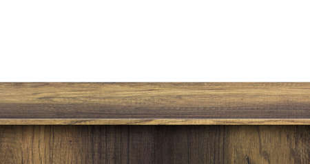 Wood table top used for display or montage your products, isolated on white background Zdjęcie Seryjne - 163566879