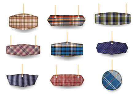 Fabric plaid price tags labels collection sale banners design, Isolated on white background