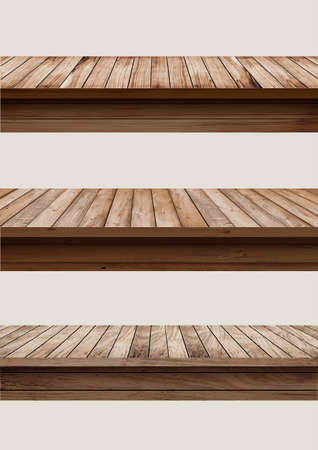 Vector wood table top used for display or montage your products, isolated on white background