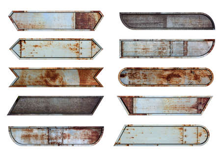 Old steel metal sign plate texture background, Video headline title or television news bar design template isolated on white