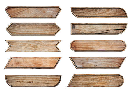 Set of Wooden sign boards with video headline title or television news bar design template, isolated on white background Zdjęcie Seryjne