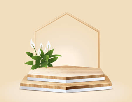 Abstract minimal scene with geometric vector hexagon wood podium, presentation mock up, show cosmetic product display stage pedestal design