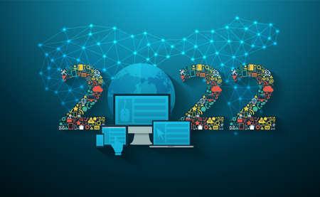 2022 new year Business innovation technology set application icons digital marketing ideas concept, Vector illustration modern design layout template Vektorové ilustrace