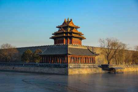 Forbidden City: Corner tower of forbidden city,Beijing, China Editorial