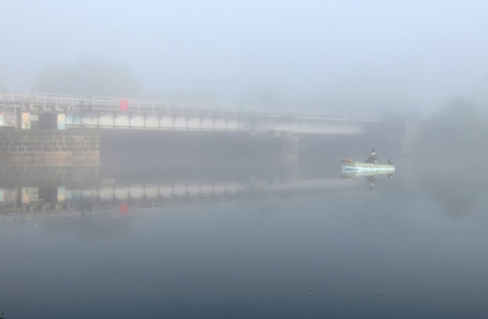 Port channel in the early morning mist