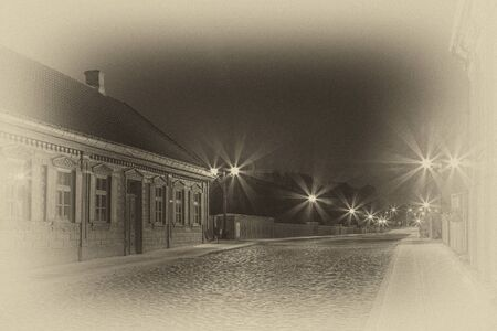 The old bridge over night Latvia.Kuld?gas Ventu Stock Photo