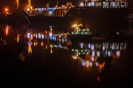 night port were killed from large vessels glow color Archivio Fotografico