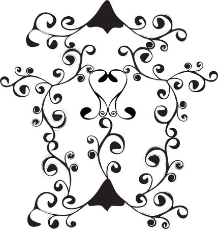 graceful: Element of design for decoration, vector, black-and-white Illustration