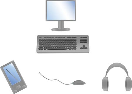 Communication facility: computer, keyboard, mouse, palmtop, ear-phones. Isolated